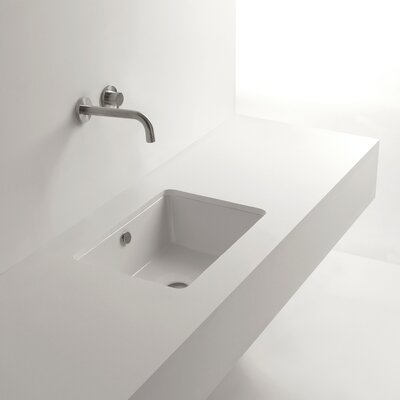Whitestone Ceramic Rectangular Undermount Bathroom Sink with Overflow