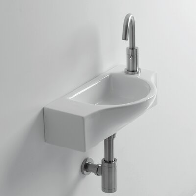 Whitestone Peta Ceramic 18 Wall Mount Bathroom Sink with Overflow