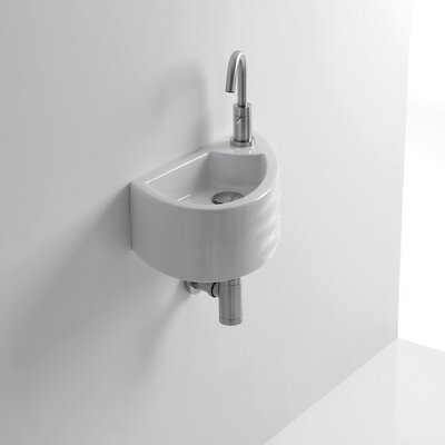 Giga Ceramic 6 Wall Mount Bathroom Sink with Overflow