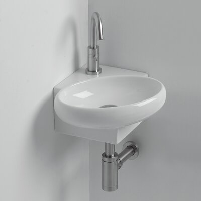 Whitestone Yotta Ceramic 15 Corner Bathroom Sink with Overflow