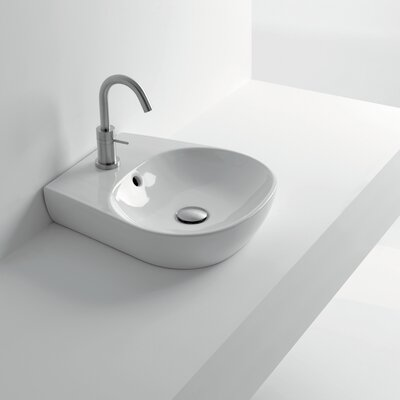 H10 Ceramic 17 Wall Mount Bathroom Sink with Overflow