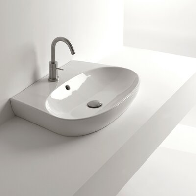 H10 Ceramic Oval Vessel Bathroom Sink with Overflow