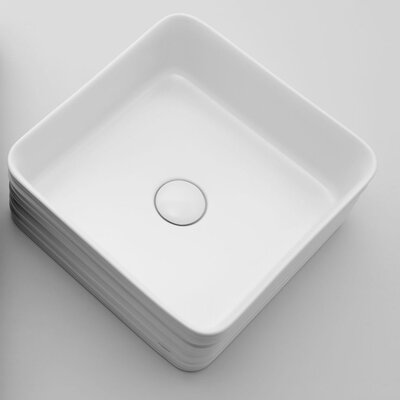 Trace Ceramic Square Vessel Bathroom Sink