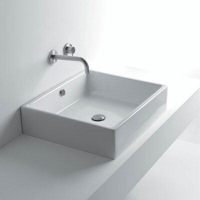 Tank Ceramic Square Vessel Bathroom Sink with Overflow
