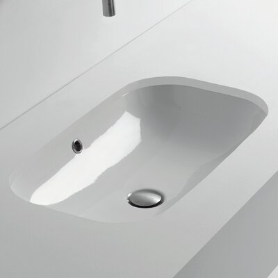 Ciotola Rectangular Undermount Bathroom Sink with Overflow