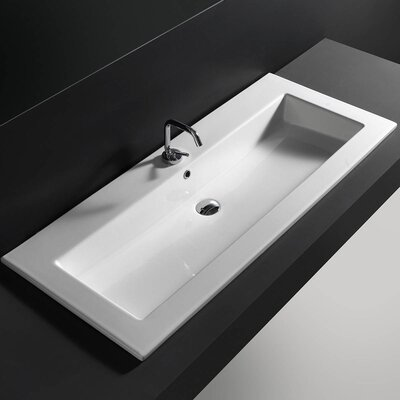 Ceramic Rectangular Drop-In Bathroom Sink with Overflow