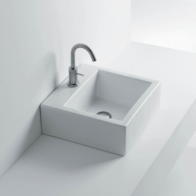 Quad Ceramic Ceramic Rectangular Vessel Bathroom Sink