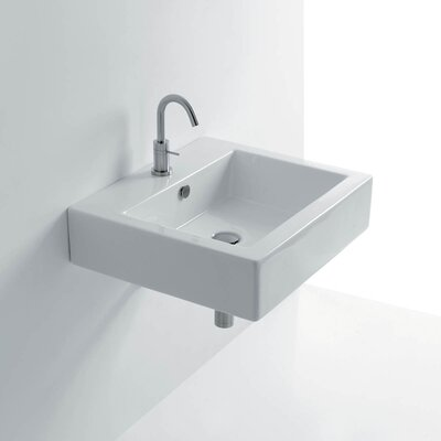 Quad Ceramic Ceramic Rectangular Vessel Bathroom Sink with Overflow