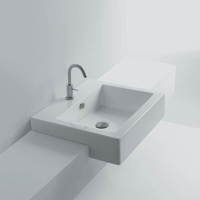 Quad Ceramic Rectangular Vessel Bathroom Sink with Overflow