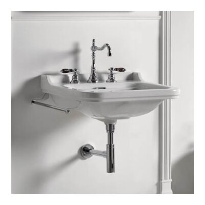 Waldorf Ceramic 24 Wall Mount Bathroom Sink with Overflow Faucet Mount: Three Faucet Holes