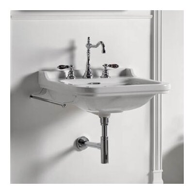 Waldorf Ceramic 40 Wall Mount Bathroom Sink with Overflow Faucet Mount: One Faucet Hole