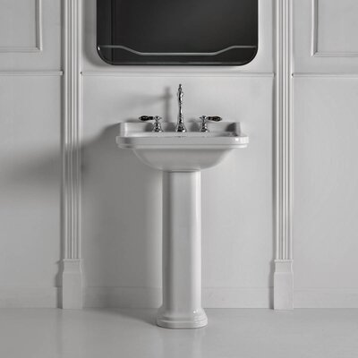 Waldorf Ceramic 24 Pedestal Bathroom Sink with Overflow Faucet Mount: Three Faucet Holes