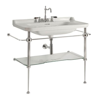 Minimal Ceramic Rectangular wall mounted Bathroom Sink with Overflow Faucet Holes: One Faucet Hole