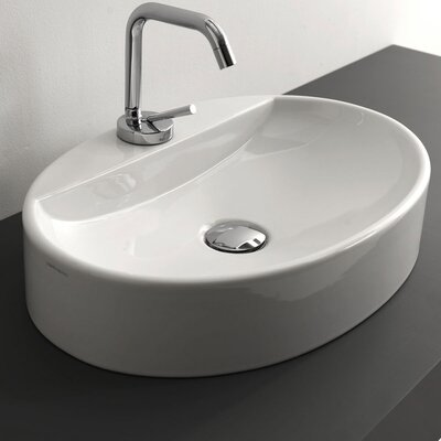 Cento Ceramic Oval Vessel Bathroom Sink