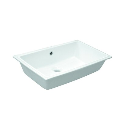 Slim Ceramic Rectangular Undermount Bathroom Sink with Overflow