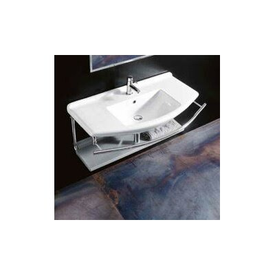 Topazio Ceramic Ceramic Rectangular Vessel Bathroom Sink with Overflow