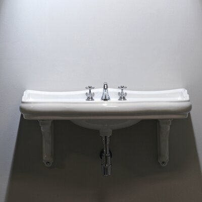 Retro Ceramic 40 Console Bathroom Sink with Overflow Faucet Mount: One Faucet Hole