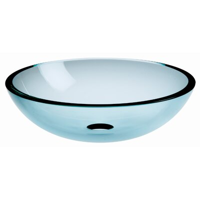 Acquaio Circular Vessel Bathroom Sink Sink Finish: Clear, Faucet Mount: Sink without single pre-drilled faucet hole