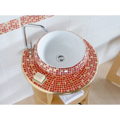 Ceramica I Circular Vessel Bathroom Sink Sink Finish: Impero Rosso, Faucet Mount: Sink with single pre-drilled faucet hole