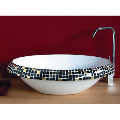 Ceramica I Circular Vessel Bathroom Sink Sink Finish: Impero Nero, Faucet Mount: Sink with single pre-drilled faucet hole