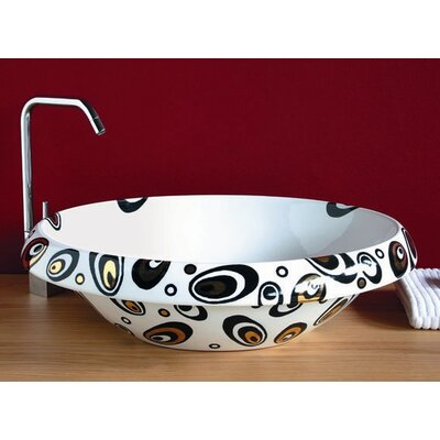 Ceramica I Circular Vessel Bathroom Sink Sink Finish: Galaxy, Faucet Mount: Sink with single pre-drilled faucet hole