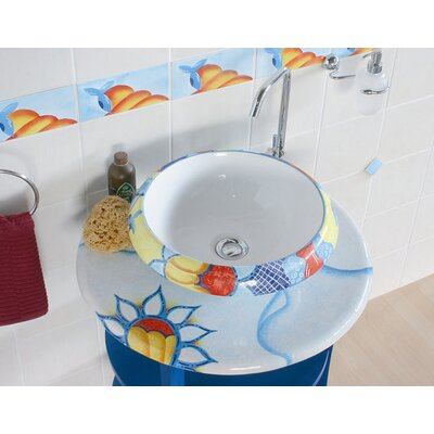 Ceramica I Circular Vessel Bathroom Sink Sink Finish: Sol Lavante, Faucet Mount: Sink with single pre-drilled faucet hole