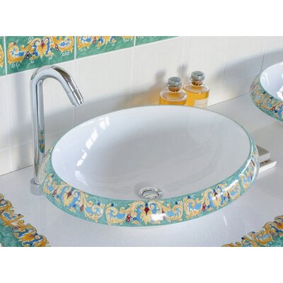 Ceramica I Circular Vessel Bathroom Sink Sink Finish: Giglio, Faucet Mount: Sink with single pre-drilled faucet hole