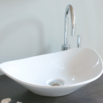 Ceramica Oval Vessel Bathroom Sink Faucet Mount: Single Hole