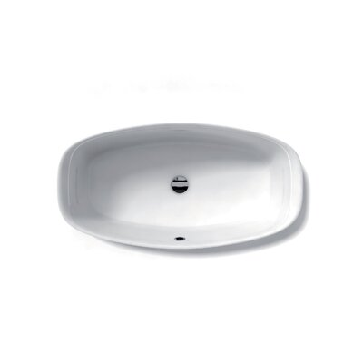 Ceramica Ceramic Oval Vessel Bathroom Sink with Overflow Faucet Mount: Single Hole