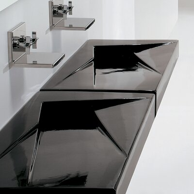 Ceramica 25.6 Wall Mount Bathroom Sink Sink Finish: Black, Faucet Mount: No Hole