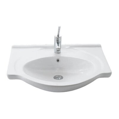 Etol Ceramic 26 Wall Mount Bathroom Sink with Overflow Faucet Mount: 3 Hole