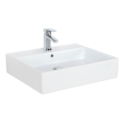 Simple 24 Wall Mounted Bathroom Sink with Overflow Faucet Mount: 0 Hole