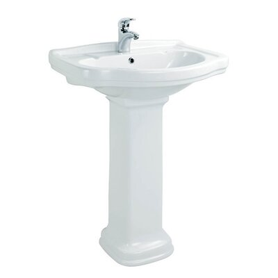 Klassic Ceramic 26 Pedestal Bathroom Sink with Overflow Faucet Mount: 3 Hole