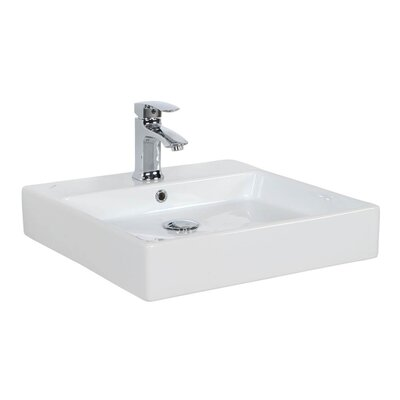 Simple Ceramic Ceramic Square Vessel Bathroom Sink with Overflow Faucet Mount: 1 Hole