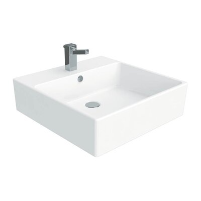 Simple Ceramic Square Vessel Bathroom Sink with Overflow Faucet Mount: 1 Hole