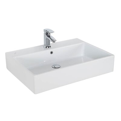 Simple Ceramic Rectangular Vessel Bathroom Sink with Overflow Faucet Mount: 3 Hole
