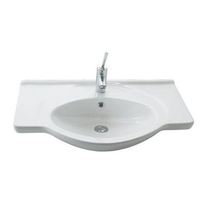 Etol Ceramic 30 Wall Mount Bathroom Sink with Overflow Faucet Mount: 1 Hole
