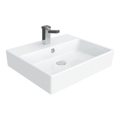 Simple Ceramic Ceramic Rectangular Vessel Bathroom Sink with Overflow Faucet Mount: 3 Hole