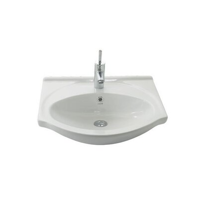 Etol Ceramic 22 Wall Mount Bathroom Sink with Overflow Faucet Mount: 1 Hole