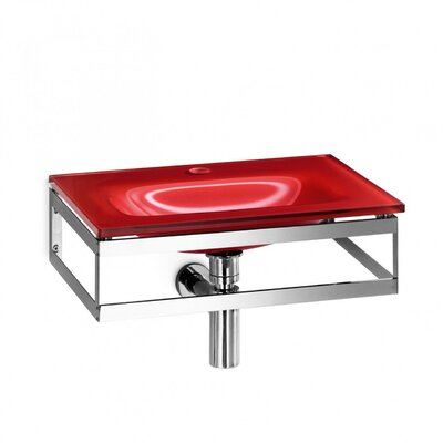 Pocia Glass 21 Wall Mount Bathroom Sink Sink Finish: Red