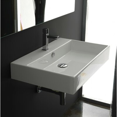 Ceramica II Unlimited Ceramic Ceramic Rectangular Vessel Bathroom Sink with Overflow Faucet Mount: Single Hole