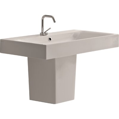 Cento Ceramic 40 Semi Pedestal Bathroom Sink with Faucet and Overflow
