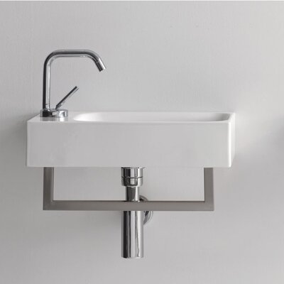 Cento Ceramic 18 Wall Mount Bathroom Sink with Overflow