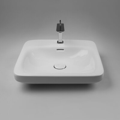 Ceramic 20 Wall Mount Bathroom Sink with Overflow Faucet Mount: No Hole