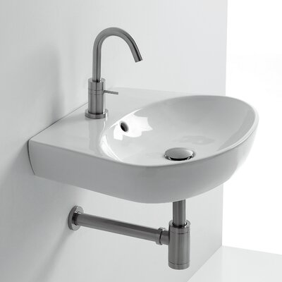 H10 Ceramic 20 Wall Mount Bathroom Sink with Overflow