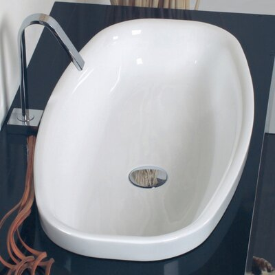 Ceramica Oval Vessel Bathroom Sink with Overflow Faucet Mount: Single Hole