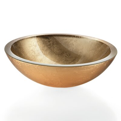 Acquaio Circular Vessel Bathroom Sink Glass Sink Finish: Gold Leaf, Faucet Mount: Sink without single pre-drilled faucet hole