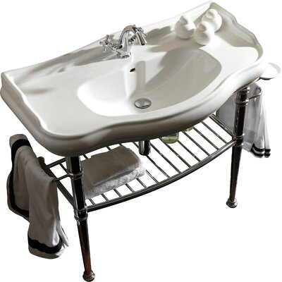 Retro Ceramic 34 Console Bathroom Sink with Overflow Faucet Drilling: Three Hole
