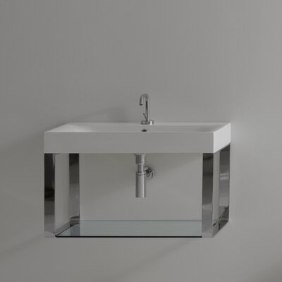 Cento Ceramic 28 Wall Mount Bathroom Sink with Overflow