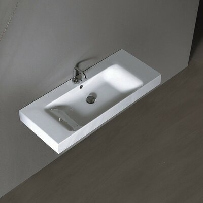 Cento Ceramic 40 Wall Mount Bathroom Sink with Overflow